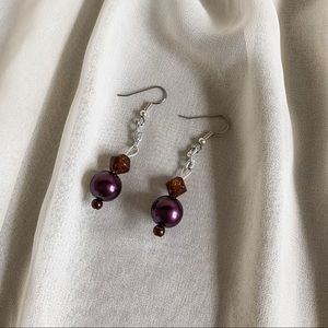 Vintage Deep Purple Amber Beaded Dangle Earrings